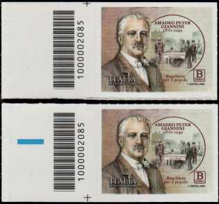 Amadeo Peter Giannini - 150° Anniversario della nascita - coppia di francobolli con codice a barre n° 2085 a SINISTRA alto-basso