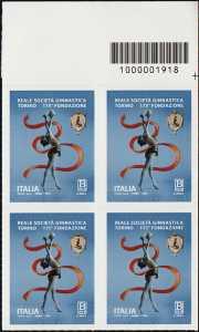Reale Società Ginnastica Torino - 175° Anniversario della fondazione - quartina con codice a barre n°1918
