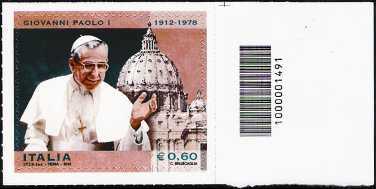 Italia 2012 - Centenario della nascita di Papa Giovanni Paolo I  - codice a barre n° 1491