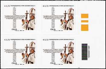 2014 - Canonizzazione Giovanni Paolo II - quartina con codice a barre n° 1589