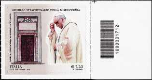 Giubileo straordinario della Misericordia - 2,20  - Roma 8 Dicembre 2015 - francobollo con codice a barre n° 1712