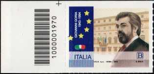 Giovanni Goria - 25° Anniversario della scomparsa - francobollo con codice a barre n° 1970 a SINISTRA in alto