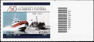 Il senso civico  - 150° Anniversario della istituzione della Guardia Costiera - francobollo con codice a barre n° 1670