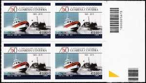 Il senso civico - 150° Anniversario della istituzione della Guardia Costiera - quartina con codice a barre n° 1670