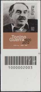 Le Eccellenze italiane dello spettacolo :Tonino Guerra - Centenario della nascita - francobollo con codice a barre n° 2003 in BASSO a destra