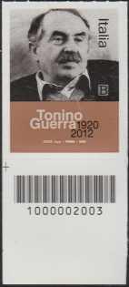 Le Eccellenze italiane dello spettacolo :Tonino Guerra - Centenario della nascita - francobollo con codice a barre n° 2003 in BASSO a sinistra