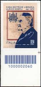 Casa editrice libraria Ulrico Hoepli S.p.A. - 75° della fondazione - francobollo con codice a barre n° 2060 in BASSO a destra