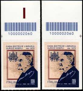 Casa editrice libraria Ulrico Hoepli S.p.A. - 75° della fondazione - coppia di francobolli con codice a barre n° 2060 in ALTO sinistra-destra