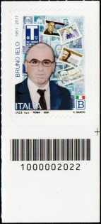Bruno Ielo - 3°  Anniversario dell'uccisione - francobollo con codice a barre n° 2022 in BASSO a destra
