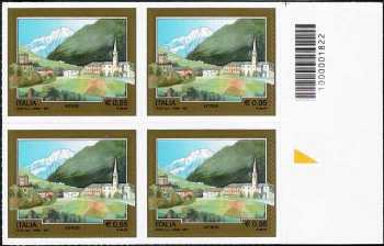 Turistica  44ª serie - Introd  (AO) - quartina con codice a barre n° 1822