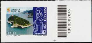 Patrimonio naturale e paesaggistico - Isola del Tino - francobollo con codice a barre n° 2045 a DESTRA in basso