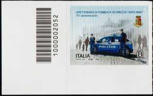 Ispettorato di Pubblica Sicurezza Vaticano - 75° Anniversario della istituzione - francobollo con codice a barre n° 2052 a SINISTRA in basso