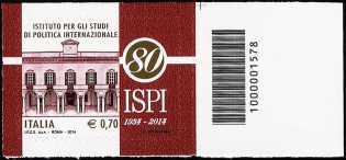 80° Anniversario della fondazione dell'ISPI - Istituto per gli Studi di Politica Internazionale - codice a barre n° 1578