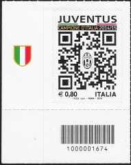 Juventus campione d'Italia 2014-2015 - francobollo con codice a barre n° 1674