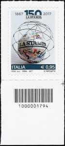 150° Anniversario del quotidiano La Stampa - francobollo con codice a barre n° 1794
