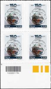 """150° Anniversario del quotidiano """"La Stampa"""" - quartina con codice a barre n° 1794"""