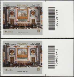 90° Anniversario della firma dei Patti Lateranensi -coppia di francobolli con codice a barre n° 1915 a DESTRA alto-basso
