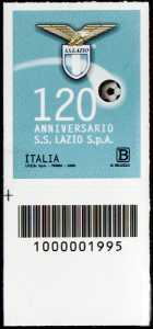 S.S. Lazio S.p.A. - 120° Anniversario della fondazione - francobollo con codice a barre n° 1995 in BASSO a sinistra