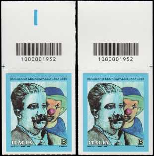 Ruggiero Leoncavallo - Centenario della scomparsa - coppia di francobolli con codice a barre n° 1952  in ALTO destra-sinistra