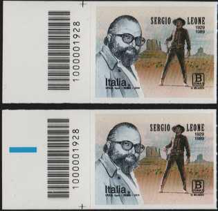 Sergio Leone - 30° Anniversario della scomparsa - coppia di francobolli con codice a barre n° 1928 a SINISTRA alto-basso