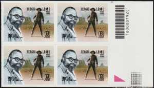 Sergio Leone - 30° Anniversario della scomparsa - quartina con codice a barre n° 1928