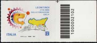 Leontinoi - 2750° anno dalla fondazione greca - francobollo con codice a barre n° 2102 a DESTRA in alto