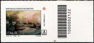 450° Anniversario della battaglia di Lepanto - francobollo con codice a barre n° 2122 a DESTRA in basso