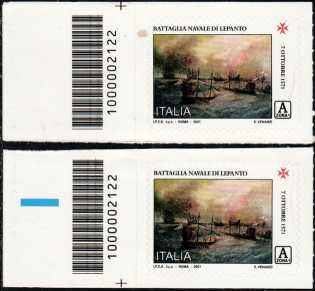 450° Anniversario della battaglia di Lepanto - coppia di francobolli con codice a barre n° 2122 a SINISTRA alto basso