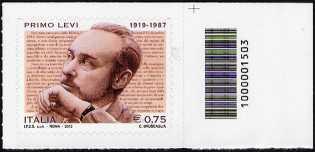 Italia 2012 - 25° Anniversario della morte di Primo Levi  - codice a barre n° 1503