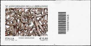 70° Anniversario della Liberazione - francobollo con codice a barre n° 1663