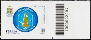 Madonna di Loreto - Centenario della proclamazione a patrona degli aviatori - francobollo con codice a barre n° 2004 a DESTRA in basso