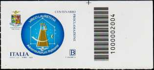 Madonna di Loreto - Centenario della proclamazione a patrona degli aviatori - francobollo con codice a barre n° 2004 a DESTRA in alto