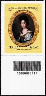 Italia 2013 -Anna Maria Luisa de' Medici  - codice a barre n° 1514