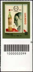 Girolamo Luxardo S.p.A. - Bicentenario della fondazione - francobollo con codice a barre n° 2099 in BASSO a destra