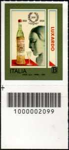 Girolamo Luxardo S.p.A. - Bicentenario della fondazione - francobollo con codice a barre n° 2099 in BASSO a sinistra