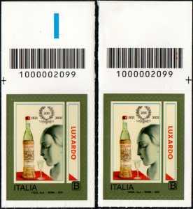 Girolamo Luxardo S.p.A. - Bicentenario della fondazione - coppia di francobolli con codice a barre n° 2099 in ALTO destra-sinistra