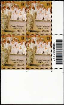 Patrimonio artistico e culturale italiano  : Cesare Maccari - Centenario della scomparsa - quartina con codice a barre n° 1976