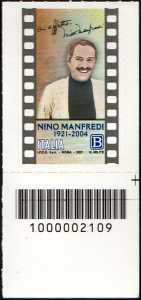 Nino Manfredi - Centenario della nascita - francobollo con codice a barre n° 2109 in BASSO a destra