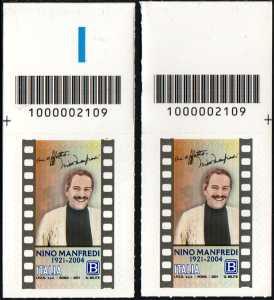 Nino Manfredi - Centenario della nascita - coppia di francobolli con codice a barre n° 2109 in ALTO destra-sinistra