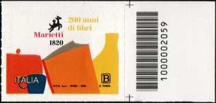 Casa editrice Marietti 1820 - Bicentenario della fondazione -  francobollo con codice a barre n° 2059 a DESTRA in alto