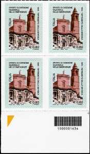 Centenario del terremoto della Marsica - quartina con codice a barre n° 1634