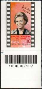 Giulietta Masina - Centenario della nascita - francobollo con codice a barre n° 2107 in BASSO a sinistra