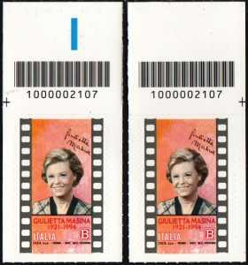 Giulietta Masina - Centenario della nascita - coppia di francobolli con codice a barre n° 2107 in ALTO destra-sinistra