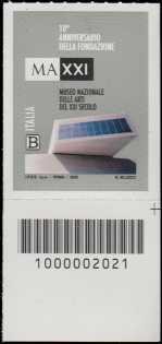 MAXXI - Museo nazionale delle arti del XXI secolo - 10° anniversario della fondazione - francobollo con codice a barre n° 2021 in BASSO a destra