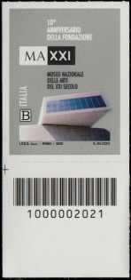 MAXXI - Museo nazionale delle arti del XXI secolo - 10° anniversario della fondazione - francobollo con codice a barre n° 2021 in BASSO a sinistra
