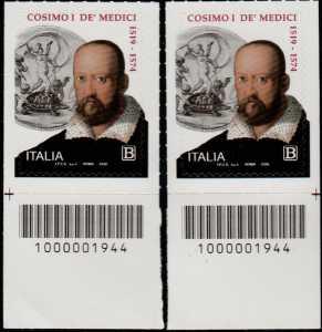 V° Centenario della nascita di Cosimo I de' Medici - coppia di francobolli con codice a barre n° 1944 in BASSO destra-sinistra