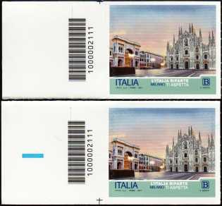 L' Italia riparte  : Milano - coppia di francobolli con codice a barre n° 2111 a SINISTRA alto basso
