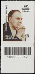 40° Anniversario della morte del magistrato  Girolamo Minervini - francobollo con codice a barre n° 2082 in BASSO a destra