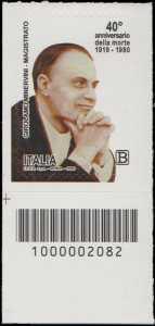 40° Anniversario della morte del magistrato  Girolamo Minervini - francobollo con codice a barre n° 2082 in BASSO a sinistra