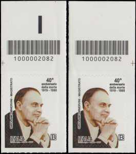 40° Anniversario della morte del magistrato  Girolamo Minervini - coppia di francobolli con codice a barre n° 2082 in ALTO sinistra-destra